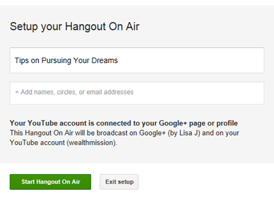 start hangouts on air broadcast