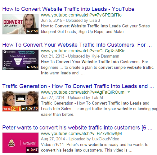 YouTube thumbnails in search results