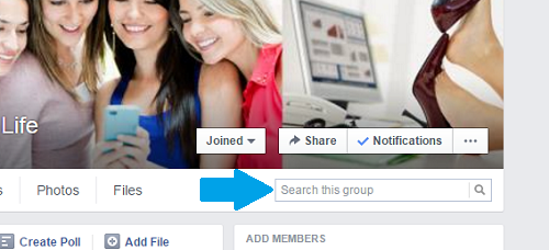 Use facebbok Group search box