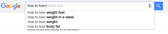 Google Autocomplete Search results