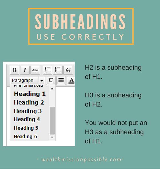 Blog Post Subheadings