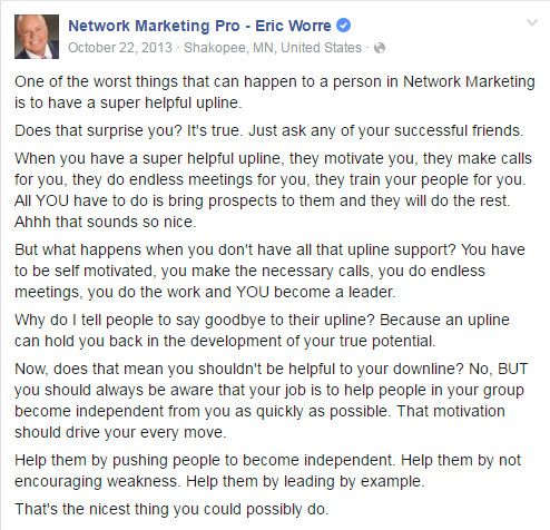 Eric Worre Network Marketing Pro Quote