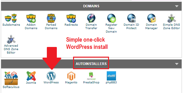 SiteGround one click install for WordPress