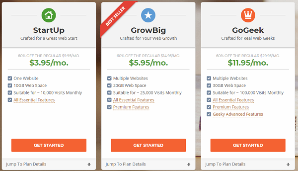 Choose your SiteGround hosting plan